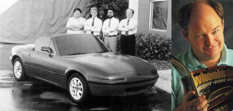 A mérnökcsapat az MX-5 agyagmodelljével (1984) és Bob Hall a Wheels Magazinban (1994)